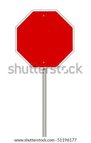 Blanks stop sign with room for copyspace - stock photo