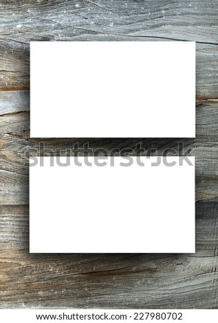 Blanks white business cards on a wooden background, identity design, corporate templates, company style - stock photo