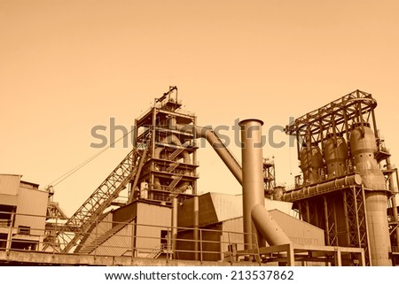 blast furnace in the steel mills, closeup of photo - stock photo