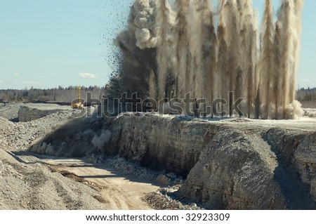 Blast in open pit - stock photo