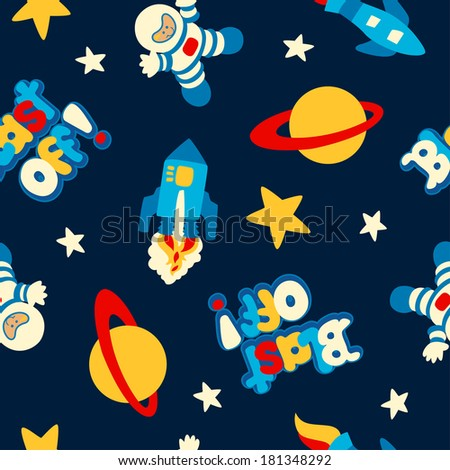 Blast off with rockets and spaceman in a seamless pattern.