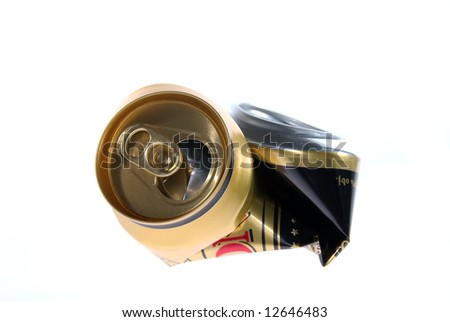 Blasted canister after beer for recycling - stock photo
