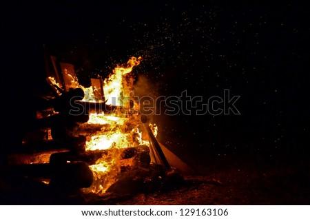 Blazing Campfire - stock photo