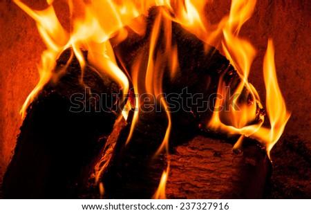Blazing flames - stock photo