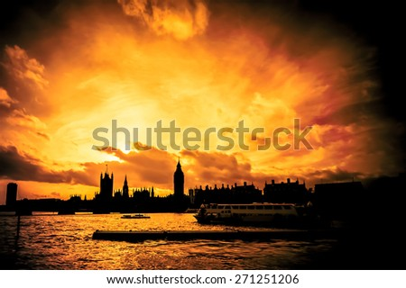 blazing sunset abstract of the city of London skyline over Westminster - stock photo