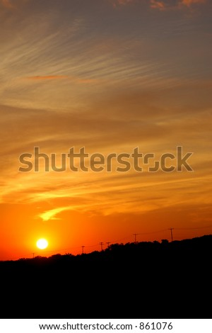 Blazing Texas sunset - stock photo