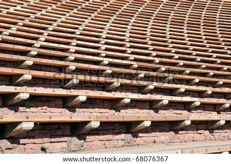 Bleacher Rows at Red Rocks Anmphitheater, Denver - stock photo