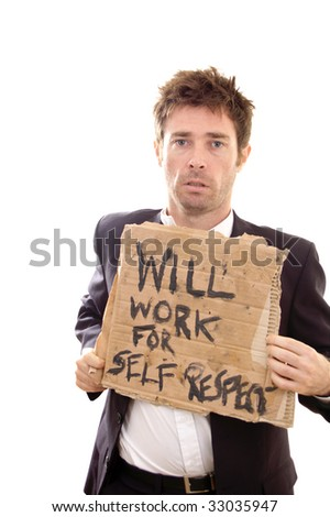 bleakness showing on face of retrenched business man - stock photo