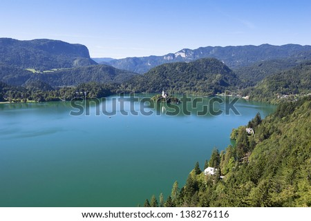 Bled lake with island, view from fortress, Slovenia, Europe