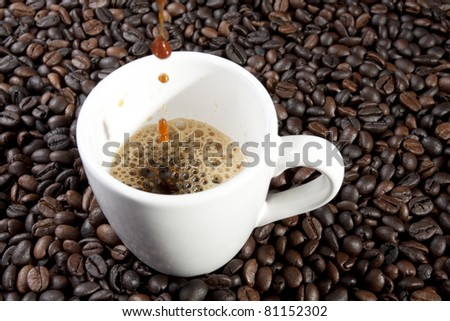 blend espresso, espresso coffee pouring into ceramic cup. - stock photo