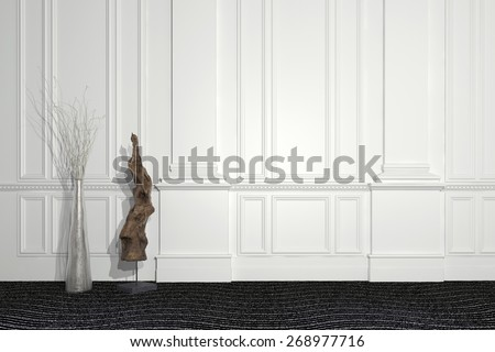 Blend of modern and classic architecture with a contemporary sculpture and floral arrangement standing in front of a paneled white wall with wainscoting and copyspace. 3d Rendering.  - stock photo