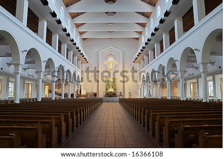 Blended exposure on a christian church interior - stock photo