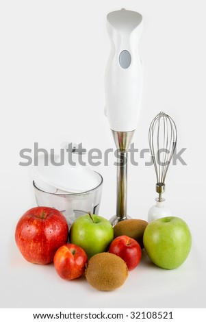 Blender with different ripe fruits ready for smoothie - stock photo
