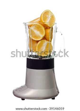 Blender with oranges isolated on white background