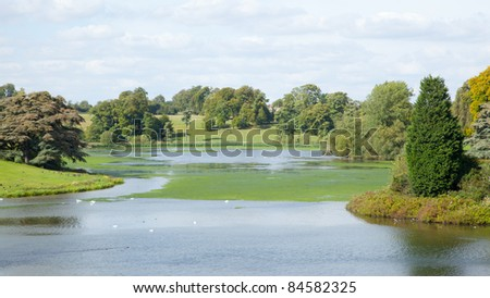 Blenheim Palace Lake in Autumn - stock photo