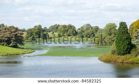 Blenheim Palace Lake in Autumn - stock photo