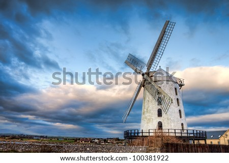 Blennerville Windmill is a tower mill in Blennerville, Co. Kerry - Ireland. - stock photo