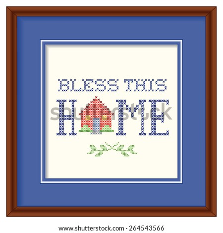 Bless This Home Embroidery, Wood Frame, retro cross stitch embroidery design, needlework house on blue background mat, square dark wood frame isolated on white background.  - stock photo