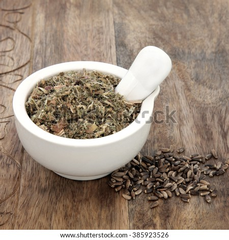 Blessed and milk thistle herb seeds used in natural alternative herbal medicine with mortar and pestle over old wood background. - stock photo