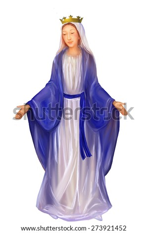Blessed Virgin Mary Queen isolated on white background, image with a fine study of facial features - stock photo