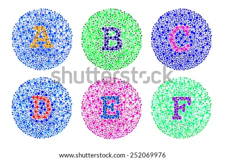blind colour test letter A to F - stock photo