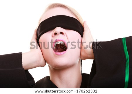 Blind justice. Woman lawyer attorney in classic polish (Poland) black green gown covering eyes with blindfold and screaming isolated on white - stock photo