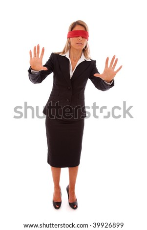 blindfold businesswoman trying to find something (isolated on white) - stock photo