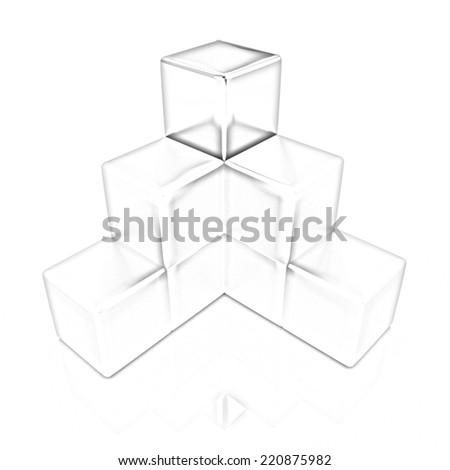 block diagram with one individual cube top. Pencil drawing  - stock photo