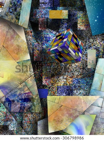 Block hovers in abstract art - stock photo