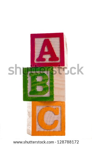 Block Letters that spell abc.  Isolated on white background. - stock photo