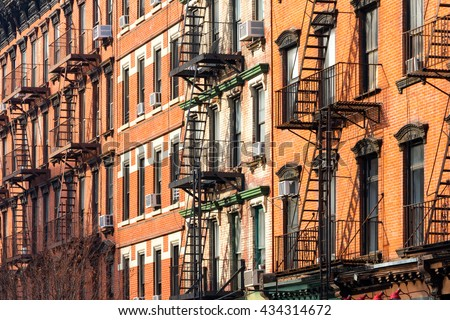 Block of Crowded Apartment Buildings in New York City - stock photo