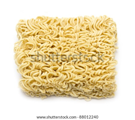 block of Instant noodles on a white background