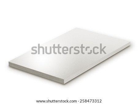 Block of paper isolated on white - stock photo