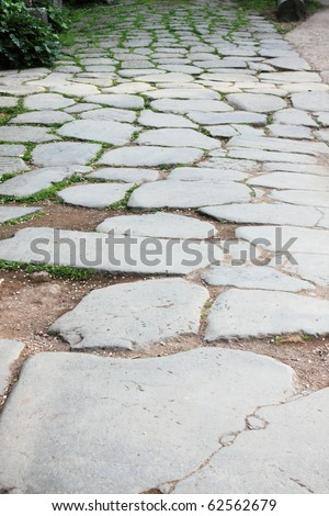 Block pavement in the roman forum of Rome, Italy - stock photo