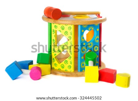 Block Shapes wodden toy - stock photo