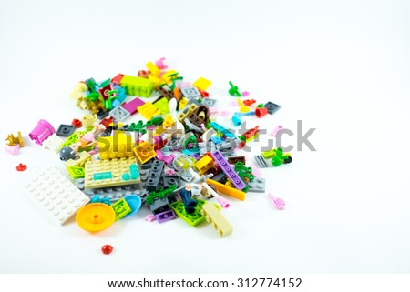 Block toy for children in white background - stock photo