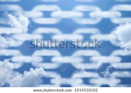 Blockchain clouds pattern.