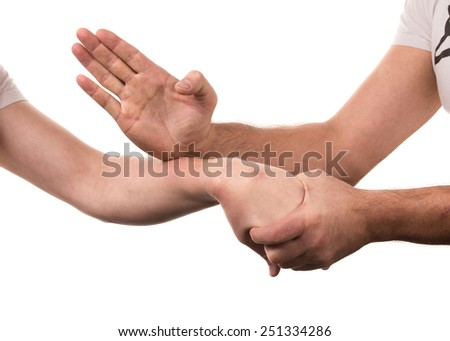 Blocking arms. Isolated on a white background.