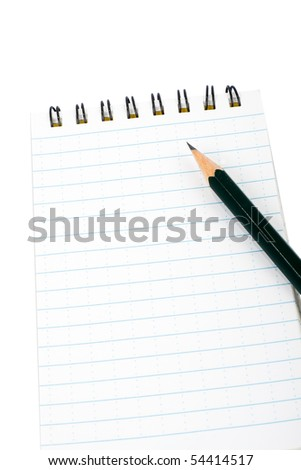 Blocknote and pencil on white - stock photo