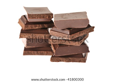 blocks of chocolate on white background