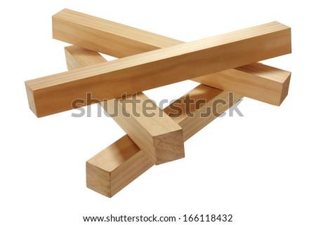 Blocks of Wood on White Background - stock photo