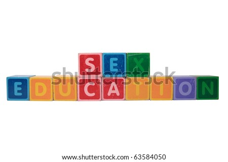 blocks that spell sex education against a white background with clipping path