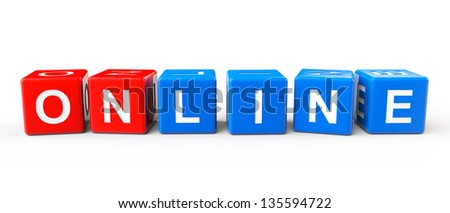Blocks with Online sign on a white background - stock photo