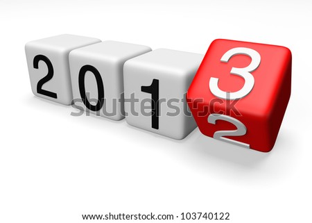 Blocks with the transition from year 2012 to 2013 on a white background - stock photo