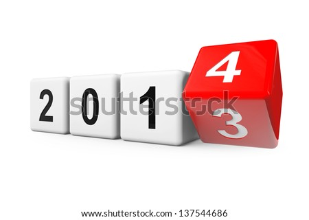 Blocks with the transition from year 2013 to 2014 on a white background - stock photo