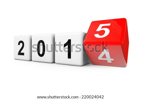 Blocks with the transition from year 2014 to 2015 on a white background - stock photo