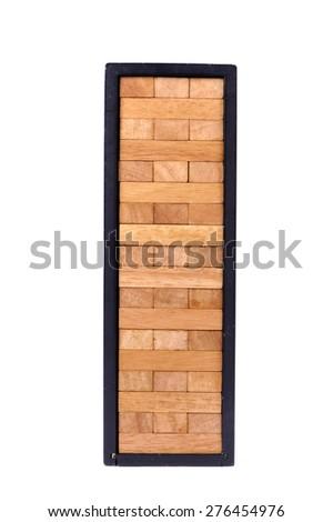 blocks wood game with black box isolate on white background. - stock photo