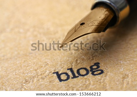 Blog and pen - stock photo