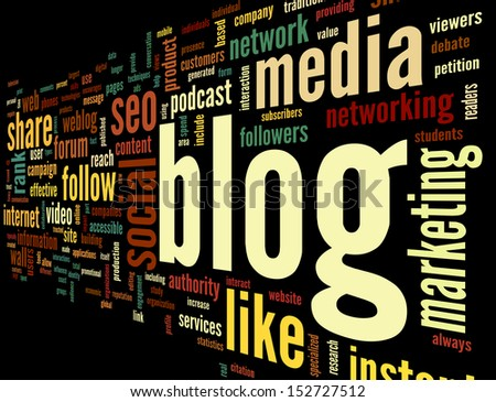 Blog and social media concept in word tag cloud on black background - stock photo