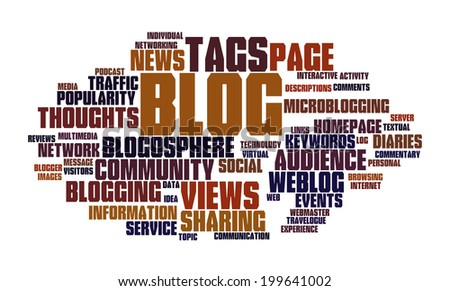 Blog and social media concept in word tag cloud on white background  - stock photo